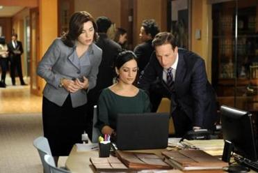 "From left: Julianna Margulies, Archie Panjabi, and Josh Charles in ""The Good Wife."""